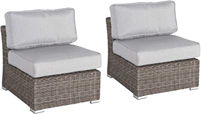Living Source International 2 Piece Armless Chair with Cushions [CM-1069] (2 Armless Sectional Units)