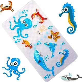 WARRAH None-Slip Tub Kids Bath Mat - Premium Square Anti-Slip Shower Mat,Cool Slip Resistant Bathroom Floor Bathtub Mats for Babies,Children,Toddler (Blue Octopus)