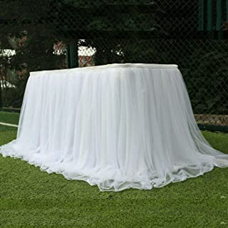 HUOFU Elegant Fluffy Tulle Table Skirt, Round or Rectangle Table Skirting for Birthday Party Wedding Decoration, Home Deco...