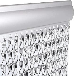 35 x 83 inch Sliver Aluminium Chain Curtain Metal Screen for Door Window Indoor Decoration