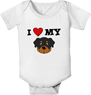 I Heart My - Cute Rottweiler Dog Baby Romper Bodysuit