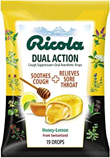 Ricola Dual Action Cough Suppressant & Oral Anesthetic Throat Drops, Honey Lemon, 19 Drops,12 Count