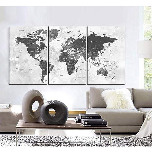 Map Of World Wall Art.World Map Wall Art Amazon Com