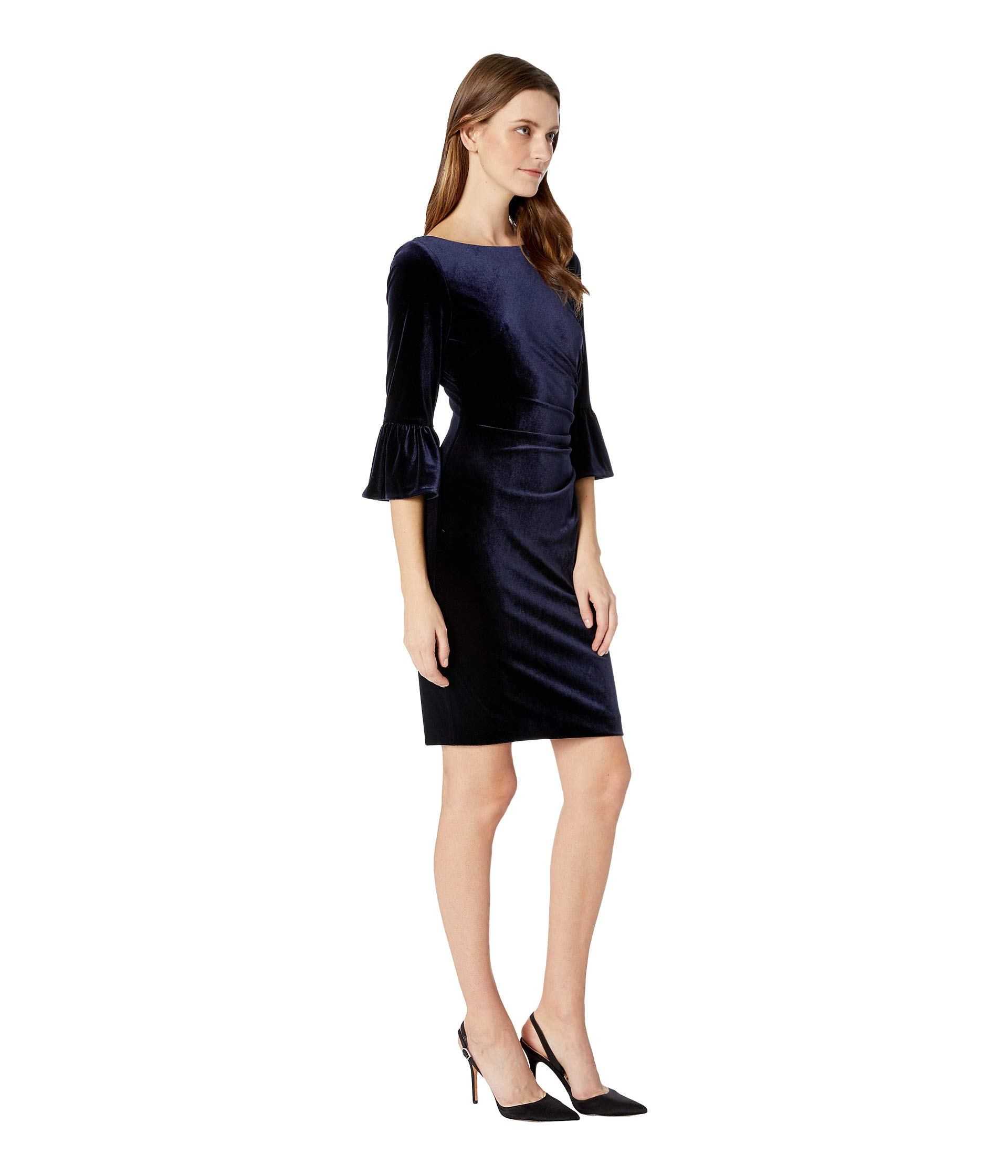 With Flounce Side Camuto Low Navy Velvet And Vince Back Dress Draped Sleeve TqXxFwzO
