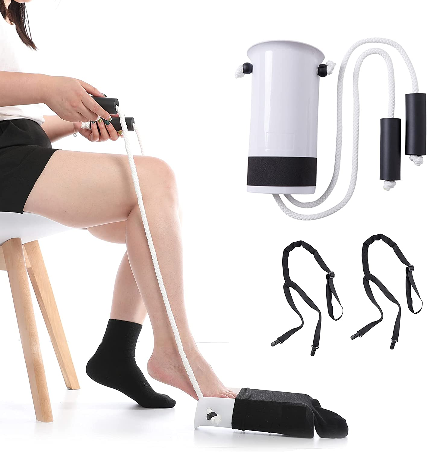 Sock Aid Tool and Pants Assist for Elderly, Disabled,Pregnant, Diabetics-Fanwer Easy On Stocking Slider with Foam Grip 33 inch Cord Puller: Health & Personal Care
