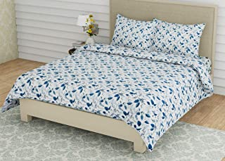 Linenwalas Double Bedsheet with Pillow Covers | 300 TC Cotton Bed Sheet Easy Wash Soft Sateen Weave 90x100 inch - Indigo Blue Leaves