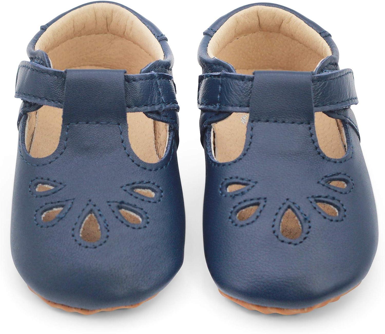 Dotty Fish Lujosos Zapatos de Cuero para bebés, para Fiestas, Bodas y Otras Ocasiones Especiales. Pepitos en Rojo, Ciruela, Azul Marino. 18.5 EU – 24 EU