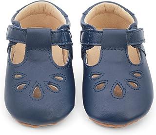 Dotty Fish Luxueuses Chaussures de bébé en Cuir. Bleu Marine. Premiers Pas. T-Bars pour Filles. (18.5 EU)