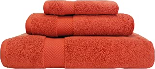 Superior Zero Twist 100% Cotton Bathroom, Super Soft, Fluffy, and Absorbent, Premium Quality 3 Piece Set with Washcloth, Hand, Bath Towel, Brick