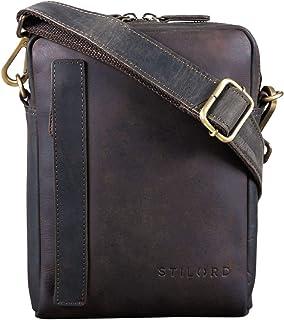 STILORD 'John' Vintage Sacoche Petite Cuir Homme Sac à Bandoulière pour Tablette PC 8.4 Pouces Sac à l'Épaule Cuir Véritable