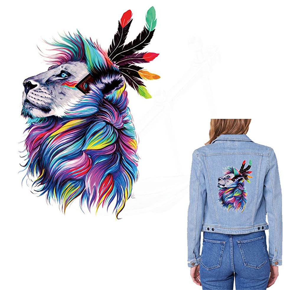 Toonol Europe Style Watercolor Lion Stickers 28X18.81cm Patch T-shirt Hoodies Denim Jacket Sweater Thermal Transfer Iron on Patches