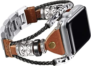 iWatch Leather strap Bands Compatible Apple Vintage Watch Band Series 4/5/6 44mm, Series 3/2/1 42mm, Double Twist Handmade...