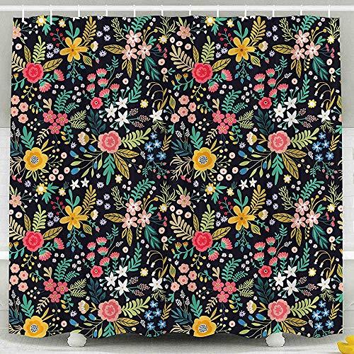 Auld-Shop Duschvorhang-Giftiger Vorhang Erstaunliches Blumenmuster Helle Bunte Blumen-Betriebszweig-Beeren-Duschvorhang