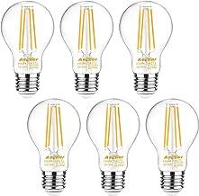 Ascher 60 Watt Equivalent, E26 LED Filament Light Bulbs, Warm White 2700K, Non-Dimmable, Classic Clear Glass, A19 LED Light Bulb/6-Pack