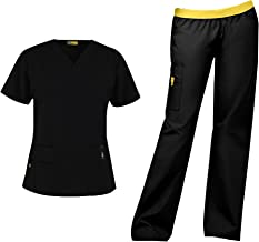 WonderWink Origins Women's Scrub Set Bundle- 6016 Bravo Top & 5016 Quebec Cargo Pant & Marc Stevens Badge Reel