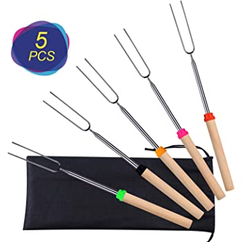 Premium Extendable Marshmallow Smores Roasting Sticks for Fire Pit Kooalo Roasting Sticks