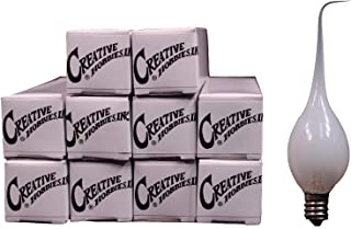Creative Hobbies Silicone Dipped Electric Candle Lamp Chandelier Light Bulbs, Individually Boxed, 7 Watt -Wholesale Box of 25 Bulbs