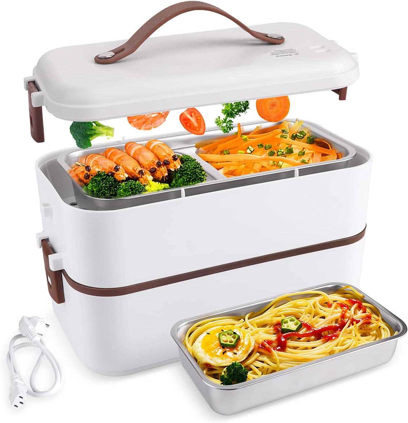ShiniUni bento box chauffante electriqueavec récipient en acier inoxydable de qualité alimentaire, y compris la vaisselle pour le bureau et les déplacements