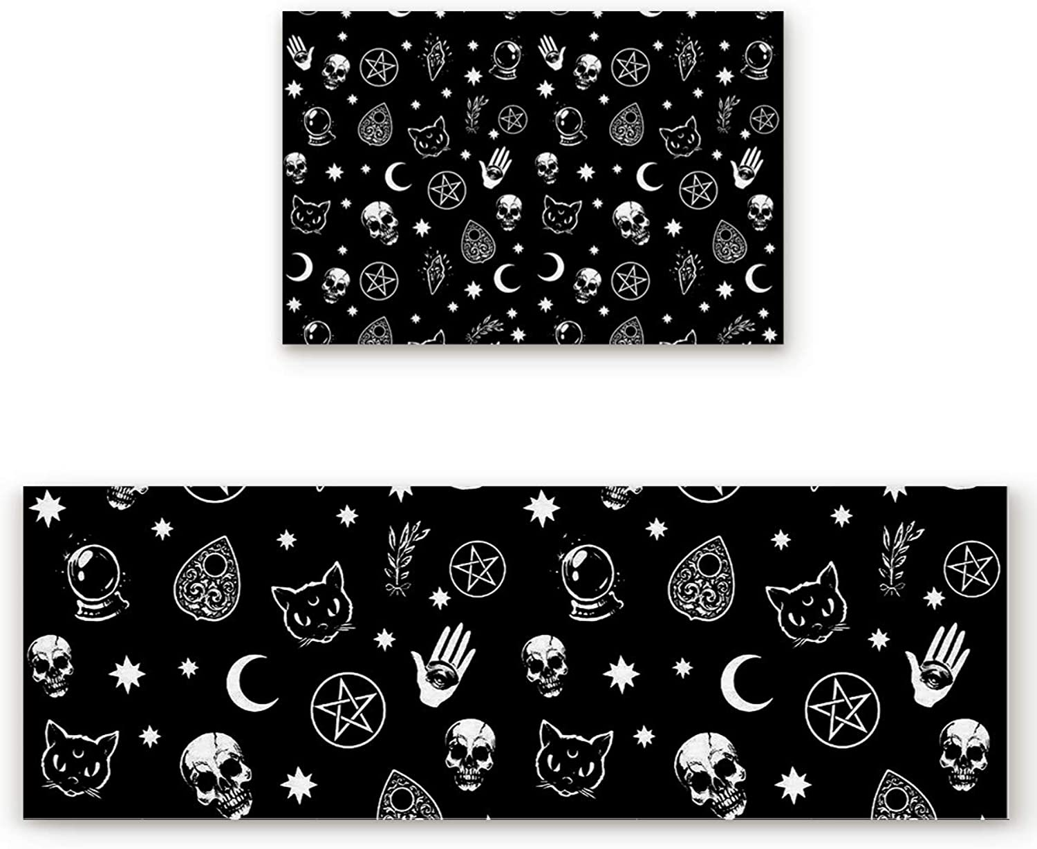 Savannan 2 Piece Non-Slip Kitchen Bathroom Entrance Mat Absorbent Durable Floor Doormat Runner Rug Set - Skull and Cat