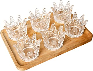 Amonik Delicate Glass Crown Ashtray,Candle Holders,Home Furnishing Articles 6Pcs