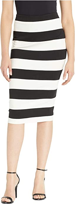 Color Blocked Stripe Knit Pencil Skirt