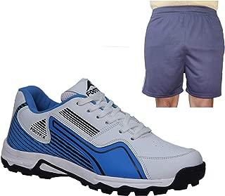 FOOTFIX Men's Arrow White Blue Cricket Shoes, Cricket Sports Shoes with Free Blue Shorts