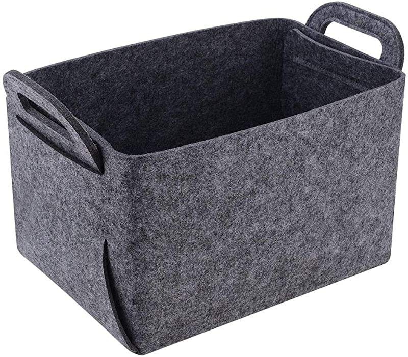 Felt Storage Box Storage Basket Felt Storage Bin Collapsible Convenient Box Organizer With Carry Handles For Office Bedroom Closet Babies Nursery Toys Laundry Organizing