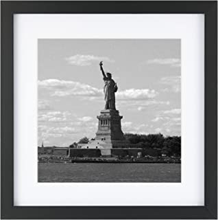 ONE WALL Tempered Glass 1PCS 11x11 Picture Frame with Mats for 8x8 Photo, Black Wood Frame for Wall and Tabletop - Mounting Hardware Included