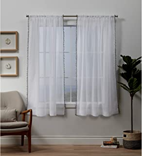 Exclusive Home Curtains Pom Panel Pair, 54x63, Black Pearl