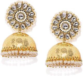 ZAVERI PEARLS Graceful Kundan and Pearls Traditional 22K Metal Gold Plated Jhumki Earring For Women-ZPFK9236