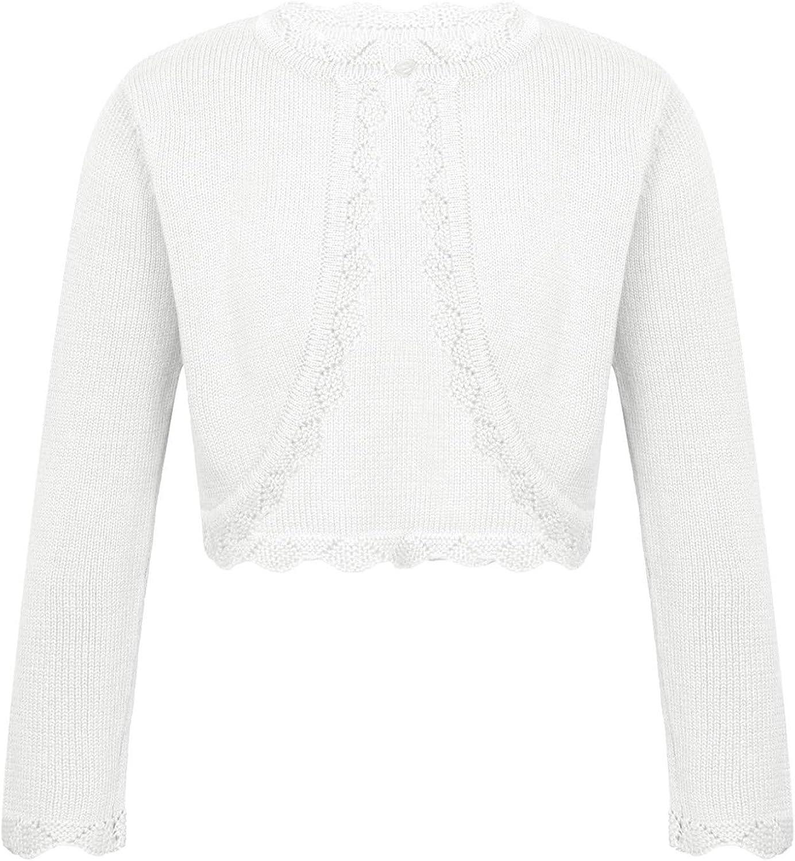 Agoky Kids Girls Long Sleeve Lace Flower Closure Knit Bolero Shrug Short Cardigan Sweater