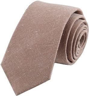 Secdtie Men's Skinny Tie Causal Cotton Solid Color Linen Narrow Slim cut Necktie