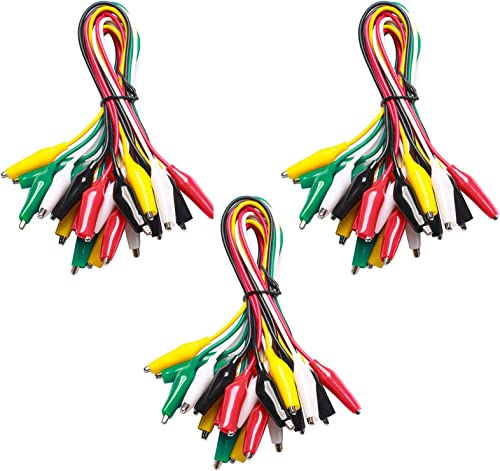 WGGE WG-026 10 Pieces and 5 Colors Test Lead Set & Alligator Clips,20.5 inches (3 Pack)