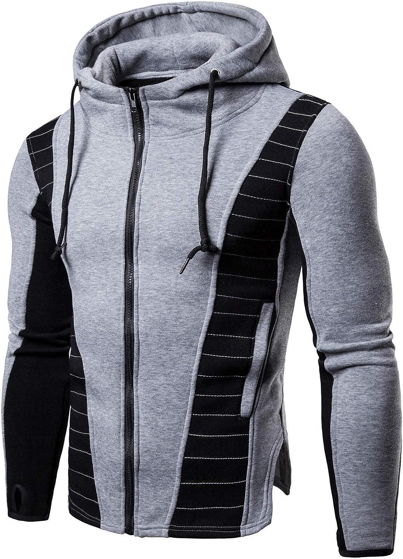 HENGAO Men's Full Zip Spliced Hooded Sweatshirt