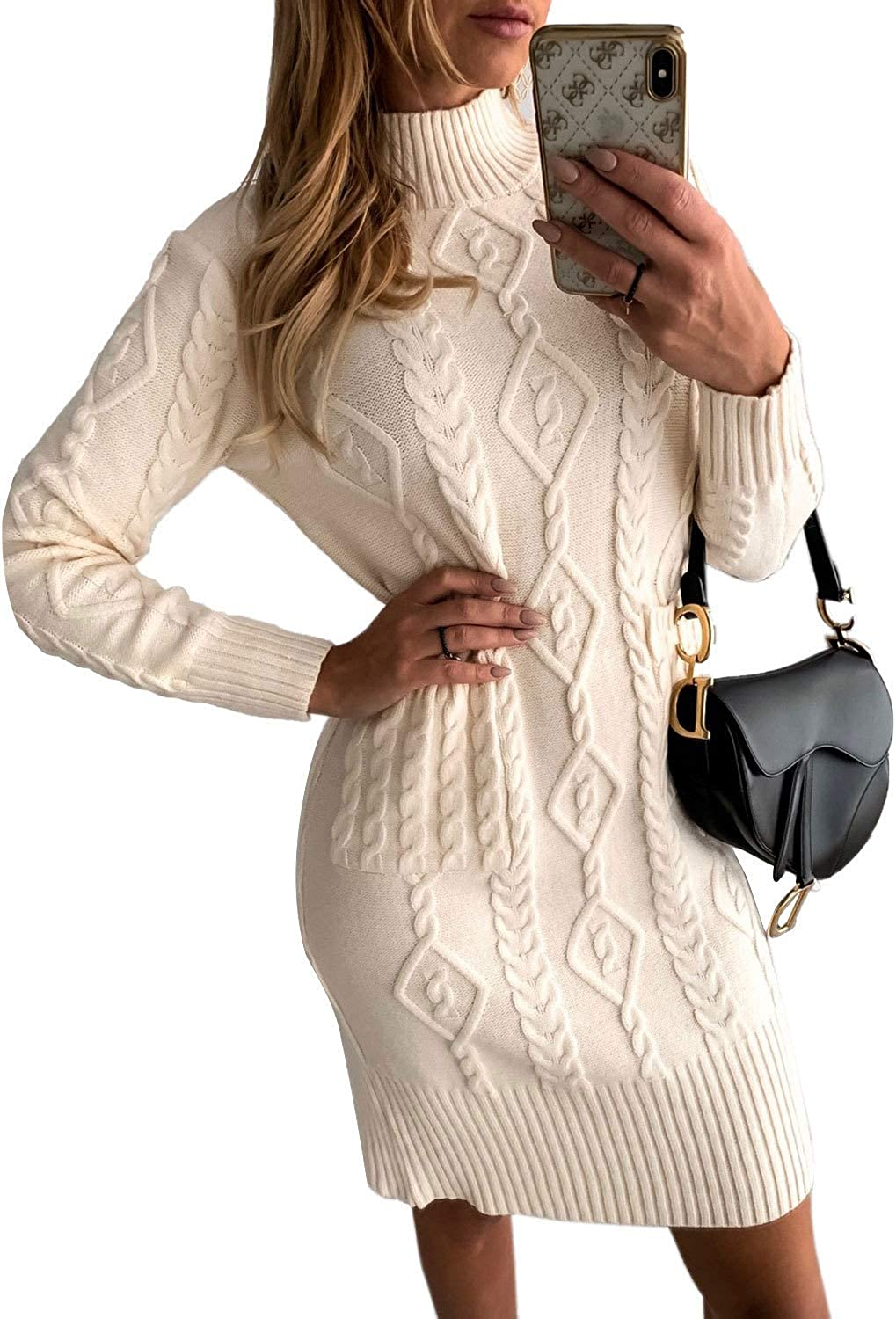 Asvivid Women Turtleneck Sweaters Dress Cable Knit Long Sleeve Bodycon Pullover Sweater Jumper