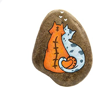 Gatos Enamorados, Piedra pintada a mano, Gatos Pintados
