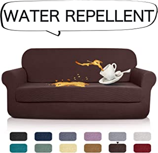AUJOY Stretch 2-Piece Sofa Covers Water-Repellent Dog Cat Pet Proof Couch Slipcovers Protectors (Sofa, Coffee)