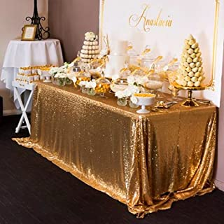 SoarDream Sparkly Gold Sequin Tablecloth Rectangle Glitter Table Linen 60x102inch Wedding Sequin Tablecloth Decorations