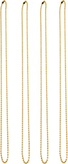 Mandala Crafts Metal Ball Bead Chains for Dog Tag Necklaces, Jewelry Making, and Crafting (30 Inches 200 Count, Gold Tone)