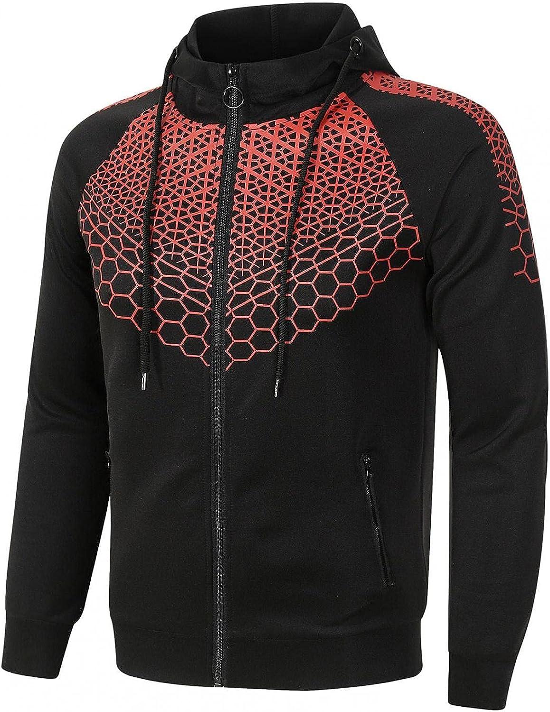 Hoodies for Men Full Zip Fashion Mens Athletic Hoodies Drawstring Sports Gym Pullover Long Sleeve Sport Sweatshirt