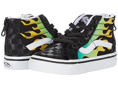 Vans Kids Sk8-Hi Zip (Infant/Toddler) ((Glow Flame) Black/True White) Boys Shoes