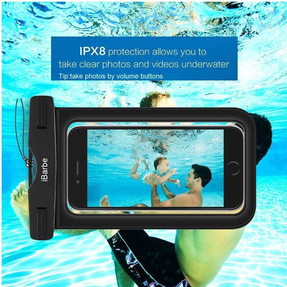 2 Pack Waterproof Case,Universal Cell Phone Dry Bag Pouch Underwater Compatible with iPhone 12 Mini 11 PRO MAX X XR XS MAX 8 Plus 7 Plus 6S 6 6S Plus SE Note s9 s8 etc.to 6.3 inch,Black+Blue+Rose