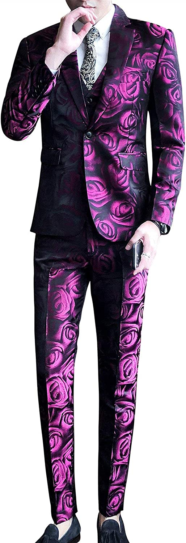 Frank Men's 3 Piece Floral Suit Notched Lapel Slim Fit Stylish Blazer Dress Suit