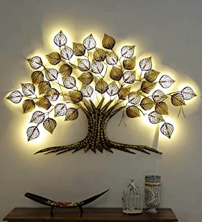 Home and Bazaar Rajasthani Ethnic Handcrafted Metal Decorative Tree Wall Art Golden with LED Size 58x2x38 Inch Powder Coat...