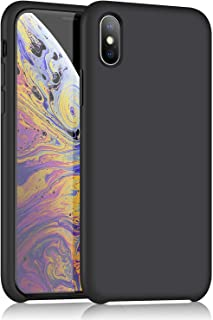 XSHNUO iPhone X Silicone Case, Liquid Silicone Gel Rubber Ultra Thin Case with Soft Microfiber Cloth Lining Cushion for iPhone X (2017) 5.8 inch (Black)