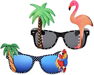 Ace Select 2 Pieces Hawaiian Tropical Novelty Sunglasses Flamingo Parrot Tree Party Glasses Eyewear for Fancy Dress