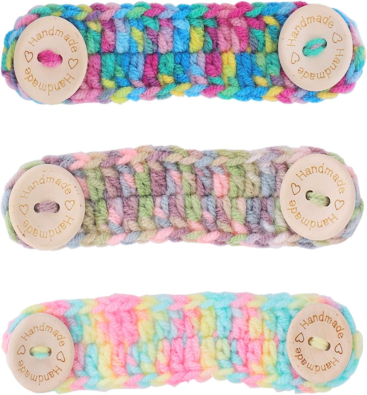 Comfort Mask Extenders with Wooden Buttons for Adults and Kids 3 Pack Crocheted Ear Saver for Face Mask