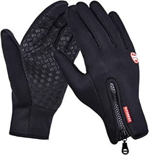 Elonglin Gloves, Unisex Sports Cycling Gloves Winter-Autumn Adjustable Waterproof Touch Screen Gloves Windproof Thermal Silicone Non-Slip for Outedoor Sports