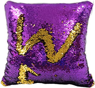 TRLYC Mermaid Sparkling Purple and Gold Sequin Throw Pillow Mermaid Magic Glitter Reversible Color Changing Decorative Pillow Cases for Sofa Comfy