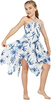 Girl Gypsy Uneven Bottom Hawaiian Luau Dress in Sandy Beach